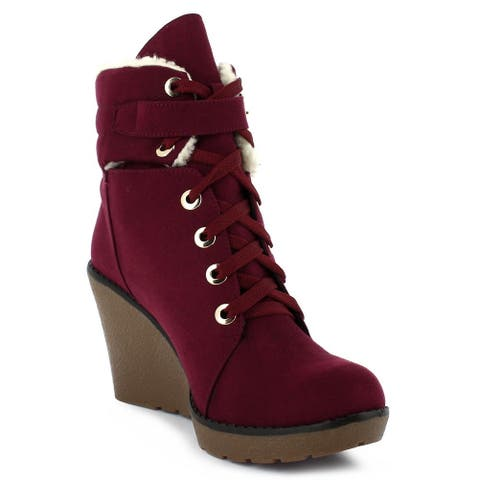 QQO Adult Wine Silver Eye-Lids Ankle Strap Lace-Up Wedge Boots