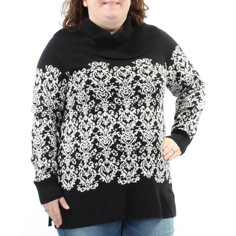 CHARTER CLUB Womens Black Damask Long Sleeve Cowl Neck Sweater Size: XXL