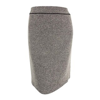Kasper Women's Plus-Size Toulouse Piped Tweed Skirt - heather cream/black