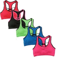 fd0d1e5f78333 Women s 6 Pack Seamless Front Cross Racer Back Athletic Yoga Sports Bras