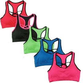 Women's 6 Pack Seamless Front Cross Racer Back Athletic Yoga Sports Bras