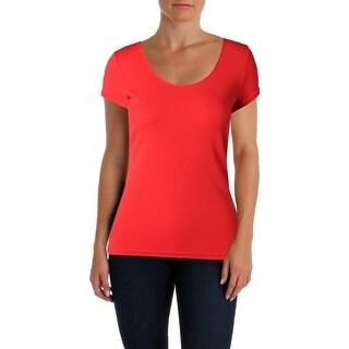 Lauren Ralph Lauren Womens Casual Top Scoop Neck Short Sleeves