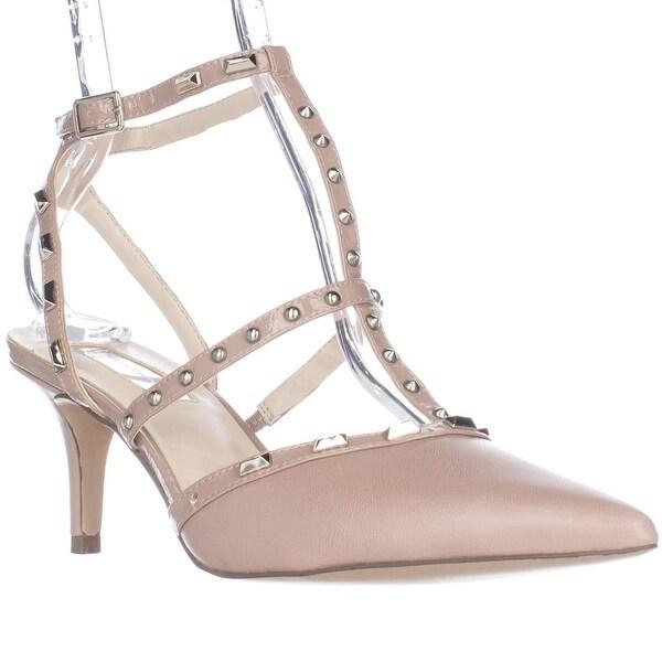 I35 Carma Studded T-Strap Pointed Toe Heels, Blush