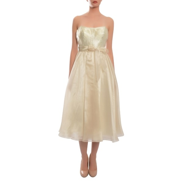 Aidan Mattox Lovely Cream A-Line Tea Length Sequin Evening Cocktail Dress - 6