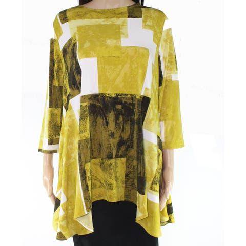 Alfani Womens Blouse Yellow Black Size Large L Check Print Boat Neck