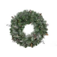 """30"""" Pre-Lit Frosted Arctic Mist Pine Artificial Christmas Wreath - Clear Lights"""