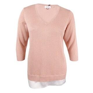 Calvin Klein Women's Plus Size Layered-Look Sweater - Blush - 0X