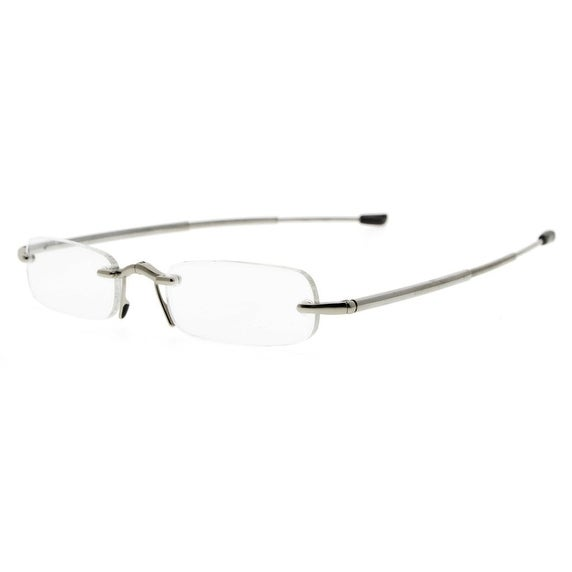3f91d577379a Shop Eyekepper Compact Folding Rimless Reading Glasses Men Women With Soft  Pouch(Silver