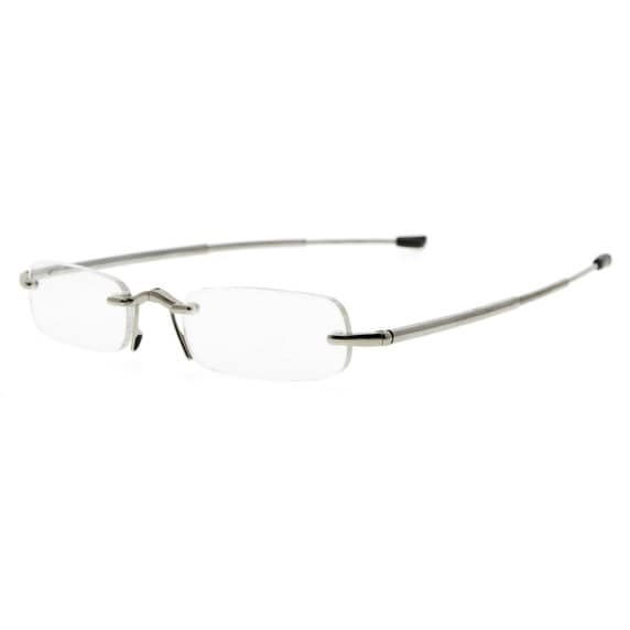 bd26093595af Shop Eyekepper Compact Folding Rimless Reading Glasses Men Women With Soft  Pouch(Silver