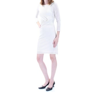 RACHEL ROY $129 Womens New 1110 Ivory Glitter 3/4 Sleeve Sheath Dress XS B+B