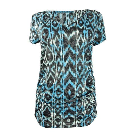 INC International Concepts Women's Printed Double-Layer Top - Painted Aztec