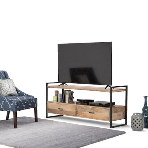 WYNDENHALL Lawson SOLID MANGO WOOD 60 inch Wide Modern Industrial TV Media Stand in Natural For TVs up to 65 inches