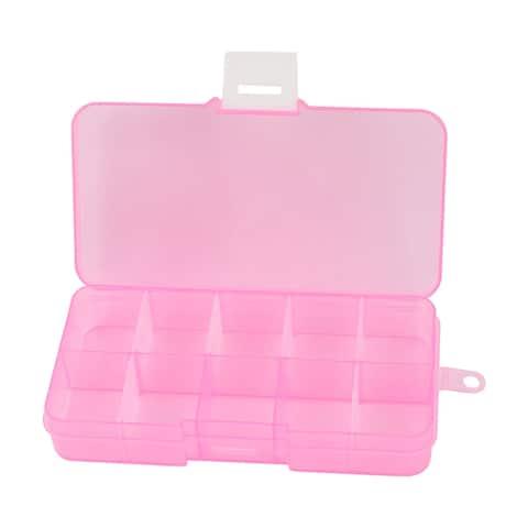 Pink Plastic Adjustable 10 Slots Storage Tool Box Jewelry Case Craft Organizer