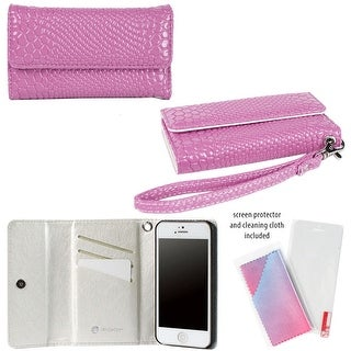 JAVOedge Croc Wallet Case with Wristlet and Screen Protector for Apple iPhone 5, iPhone 5s (Purple) - croc purple