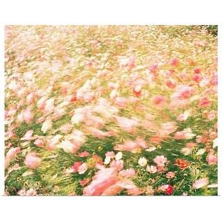 """Pink wildflower meadow in breeze"" Poster Print"