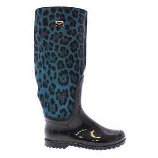 Dolce & Gabbana Black Rubber Blue Leopard Leather Rain Boots - 41
