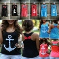 Anchor Print Womens Summer Casual Sleeveless Blouse Tank Tops T-Shirt Tee - Thumbnail 4