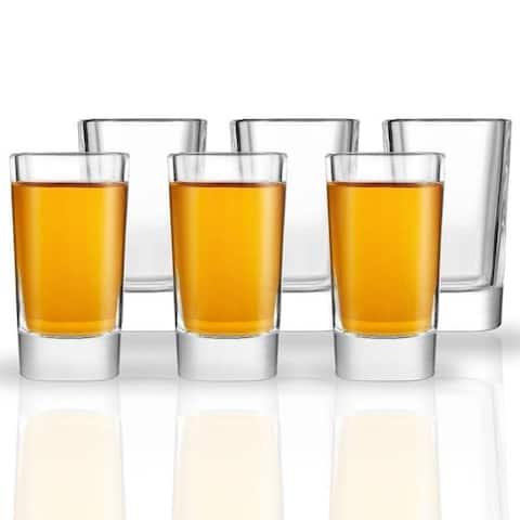 JoyJolt Villa Heavy Base Square Shot Glasses, Set of 6 - 1.7 oz Shot Glasses