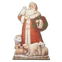 """42.75"""" Standing Santa with Forest Animals Floor Plaque Christmas Figure"""