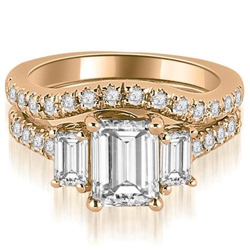 2.00 cttw. 14K Rose Gold Lucida Three-Stone Diamond Emerald Cut Bridal Set
