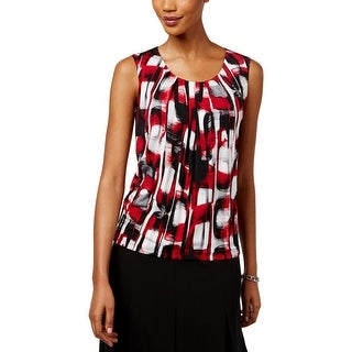 Kasper Womens Petites Pullover Top Pleated Printed - PS