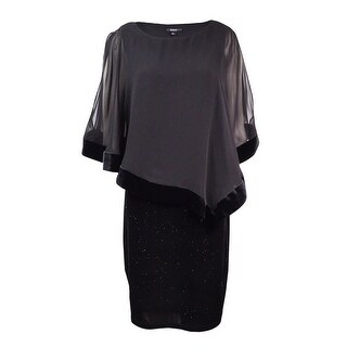 MSK Women's Velvet Chiffon-Overlay Dress - Black