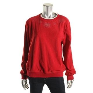 Alfred Dunner Womens Fleece Embellished Sweatshirt