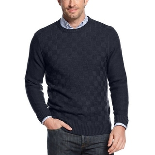 Geoffrey Beene Sweater Small S Navy Blue Check Crewneck Pullover