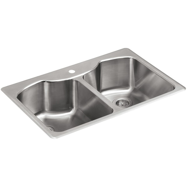 "Kohler K-3842-1 Octave 33"" Double Basin Top-Mount 18-Gauge Stainless Steel Kitchen Sink with SilentShield - Stainless Steel"