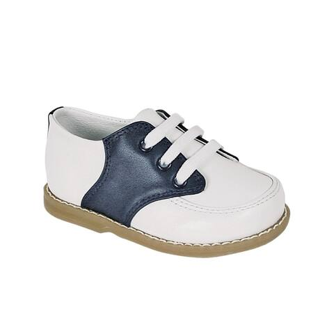 Baby Deer Boys White Navy Leather Saddle Oxford Crepe Out-Sole Shoes