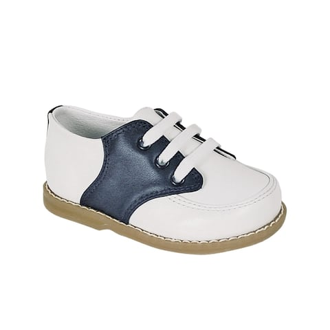 Baby Deer Little Boys White Navy Leather Saddle Oxford Shoes