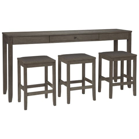 4 Piece Counter Height Dining Table Set with Barstool, Gray