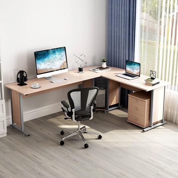 "Shop 87"" Large Reversible Modern L-Shaped Desk with ..."