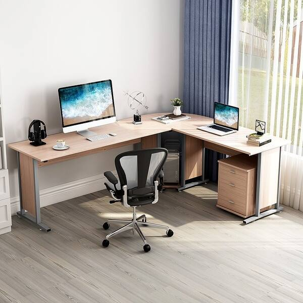 87 Large Reversible Modern L Shaped Desk With Cabinet