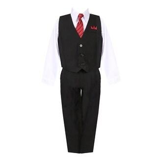 Little Boys Black White Shirt Vest Pants Neck Tie Pocket Hanky 5 pcs Suit 2-7