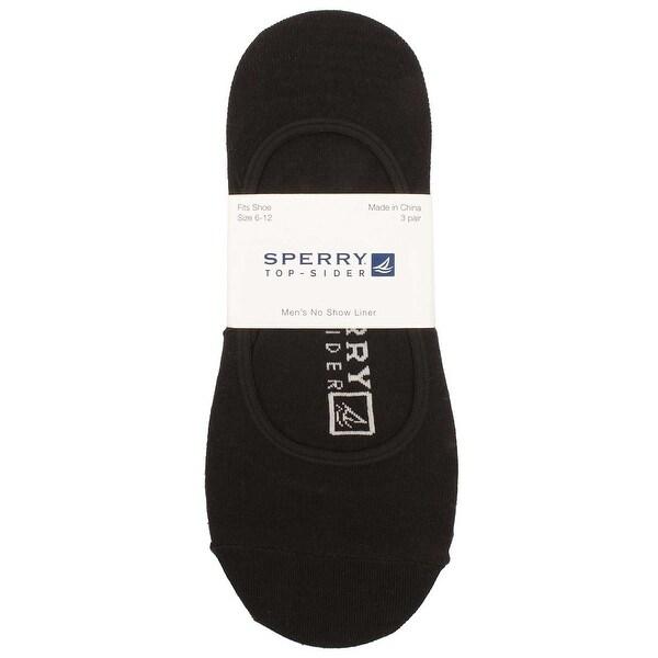 Sperry Mens No Show Liner Socks in Black