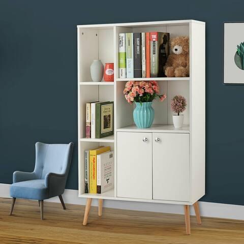 "Wide Storage Book Display Bookshelf With Drawer White - 7'9"" x 9'9"""