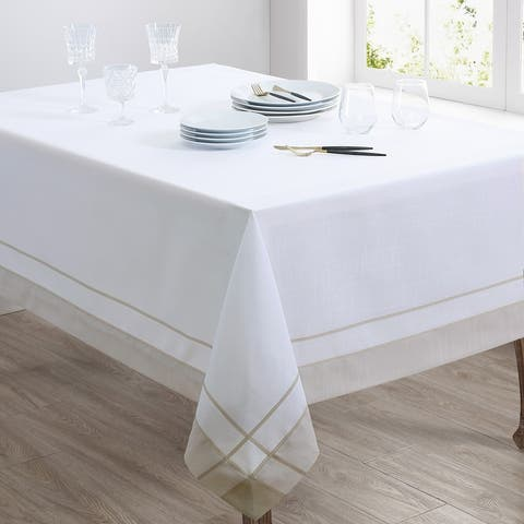 Casual Tablecloth With Banded Border Design