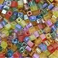 Miyuki 4mm Glass Cube Beads Color Mix Prairie Rainbow 10 Grams - Thumbnail 0