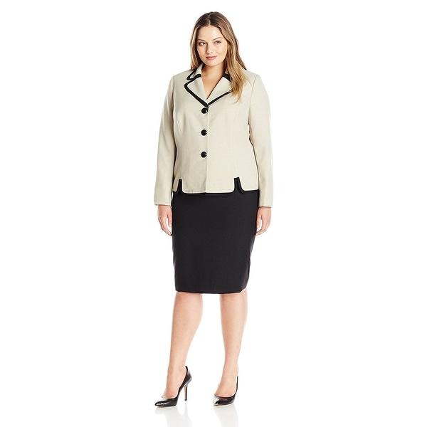 17d8ab2a3 Shop Le Suit Plus Size Contrast Three Button Skirt Suit Khaki Black ...