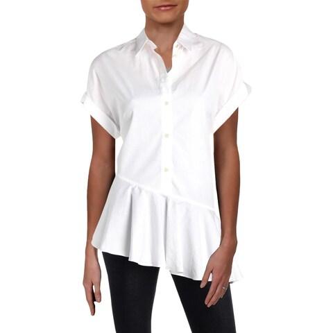 Lauren Ralph Lauren Womens Maitlyn Peplum Top Cuffed Sleeves Professional
