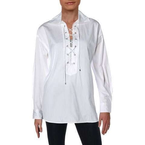 Polo Ralph Lauren Womens Broadcloth Blouse Lace-Up Cotton