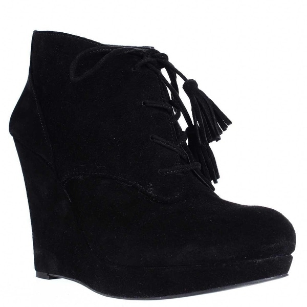 Jessica Simpson Cyntia Wedge Tassel Tie Ankle Booties, Black