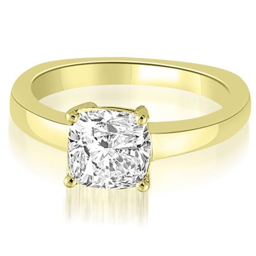 0.50 cttw. 14K Yellow Gold Euro Shank Cushion Solitaire Diamond Engagement Ring