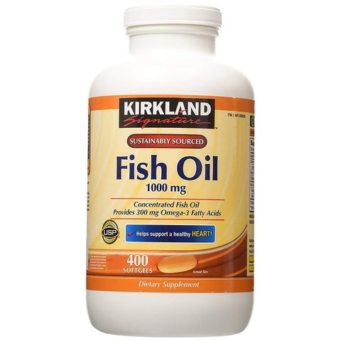 Kirkland Signature Fish Oil 1000 mg with 300 mg of Omega-3, 400 Softgels Dietary Supplement - YELLOW - 400 caps