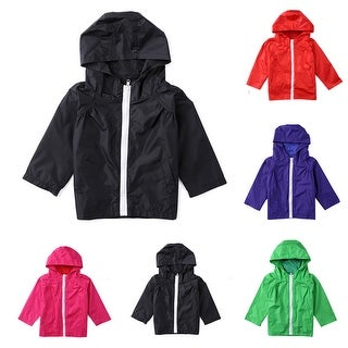 Kids Children Waterproof Lightweight Jacket Outwear Hooded Raincoat Clothing