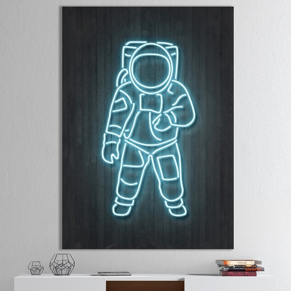 Designart 'Neon Astronaut' Modern & Contemporary Premium Canvas Wall Art. Opens flyout.