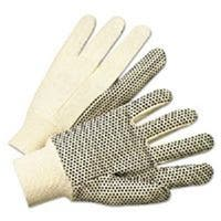 101-1000 Pvc-Dotted Canvas Gloves, White, One Size Fits