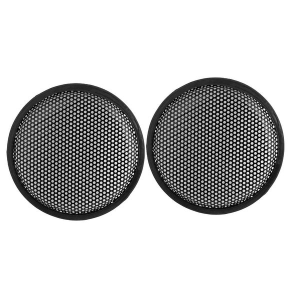 "8.5"" Dia Metal Mesh Round Car Woofer Cover Speaker Grill Black 2 Pcs"