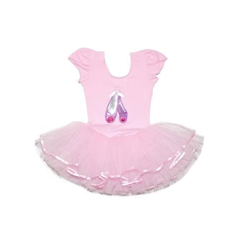 Wenchoice Girls Pink Glitter Pink Sequins Ballet Shoes Tutu Dress